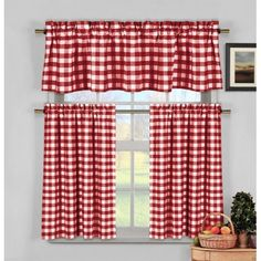Candy Apple Red Gingham Checkered Plaid Kitchen Tier Curtain Valance - Walmart.com
