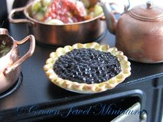 OOAK ARTIST Homemade Blueberry Pie With by CrownJewelMiniatures