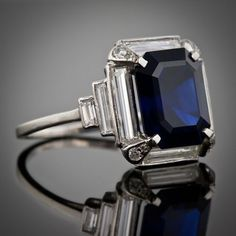 Art Deco Saphire and Diamond Ring