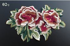 embroidered applique patch floral patch applique Large vintage