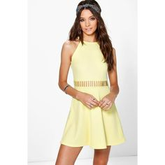 Boohoo Maisie Cut Out Swing Dress ($26) ❤ liked on Polyvore featuring dresses, lemon, trapeze dress, polyester camisole, cut out dress, cami dress and beige bodycon dress