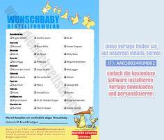 """Gratis Vorlage """"Babybestellformular"""" für die Hochzeitszeitung - www.diehochzeitsdrucker.de"""