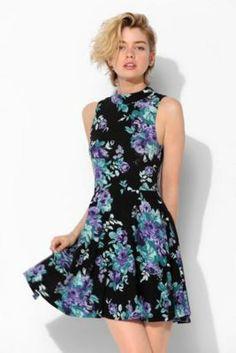 Urbanoutfits dress Kimchi Blue Stella Mock Neck Fit Flare Dress