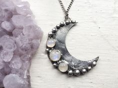 Moonlight - crescent moon and rainbow moonstone necklace