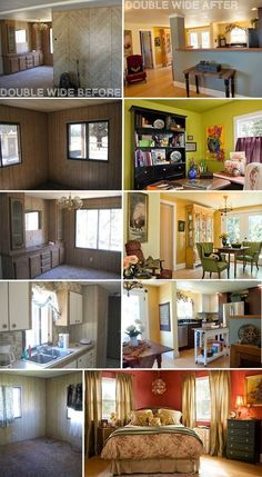 The Most Amazing Mobile Home Renovations. You would never know, after the remodels, that they were mobile homes! Personally, I choose the more important things in life! Mobile Home Redo, Mobile Home Repair, Mobile Home Makeovers, Mobile Home Living, Mobile Home Decorating, Decorating Ideas, Decor Ideas, Mobile Home Renovations, Remodeling Mobile Homes