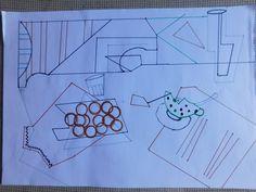 Boceto previo a la utilización de la herramienta Picasa. En él estoy empezando a  probar distintas composiciones sobre el papel, realicé los trazos en color para posteriormente, hacer pruebas de contraste.