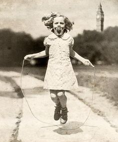 Little girl jumping rope...plus alien mouth