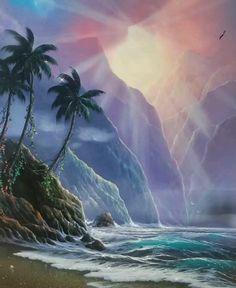 Original Painting by Edgardo F. Fantasy Landscape, Landscape Art, Nature Wallpaper, Wallpaper Backgrounds, Good Morning Beautiful Gif, Art Et Nature, Imagination Art, Cute Art Styles, Illusion Art