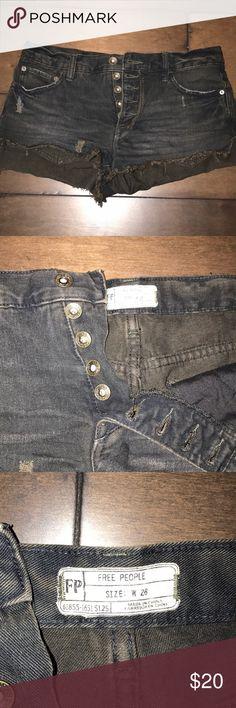Free people black distressed denim shorts Black free people distressed shorts. Waist size 26 Free People Shorts