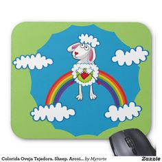 Colorida Oveja Tejedora. Sheep. Arcoiris, rainbow. Producto disponible en tienda Zazzle. Tecnología. Product available in Zazzle store. Technology. Regalos, Gifts. Link to product: http://www.zazzle.com/colorida_oveja_tejedora_sheep_arcoiris_rainbow_mouse_pad-144911518288106686?CMPN=shareicon&lang=en&social=true&rf=238167879144476949 #Mousepads #oveja #sheep