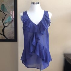 ✨LOFT Blue Ruffled Tank Top Great condition! LOFT Tops Tank Tops