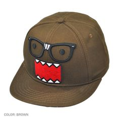 Domo Nerd Face Snapback Baseball Cap (Brown)