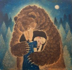 """Limited edition giclée print of original painting by Lucy Campbell - """"Tuesday's bear"""""""