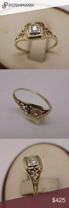 Estate 14k 2-tone gold diamond filigree ring 1 old European cut diamond approx. 10ct (2.9mm). Vs in clarity and h in color   Hallmarked 14k. Size 6 3/4. Jewelry Rings