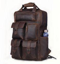 3a1ead4b234 Vintage handmade crazy horse leather briefcase messenger backpack l106