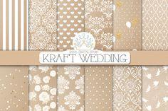 KRAFT WEDDING digital paper by RoyalDigitalStore on Creative Market