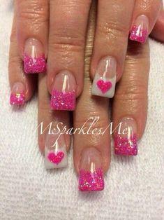 Valentine Nails: Photo Heart Nail Designs Source by Fancy Nails, Love Nails, Pink Nails, My Nails, Fabulous Nails, Gorgeous Nails, Pretty Nails, Heart Nail Designs, Nail Art Designs
