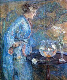 Robert Reid (1862-1929)  Girl in Blue Kimono  Oil on canvas  1911