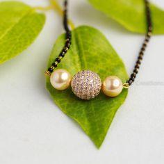 White Stones Studded Short Mangalsutra , indian jewelery , short mangalsutra by ZivarCreations on Etsy
