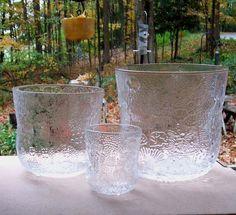 Oiva Toikka Iittala Arabia Nuutajarvi Fauna 3 Art Glass Bowl Vases from missingmemories on Ruby Lane