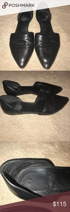 VINCE LEATHER D'ORSAY FLATS Genuine leather flats. Have been resoled with rubber bottom for longer lasting sole. Fits more like a 9-9 1/2 Vince Shoes Flats & Loafers