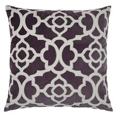 Aubergine looks sophisticated next to the amazing steel applique and charcoal velvet texture on our new Benito Pillow. $69.95