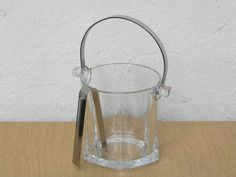 I Like Mike's Mid Century Modern - SMALL GLASS SILVER HANDLE ICE BUCKET WITH TONGS