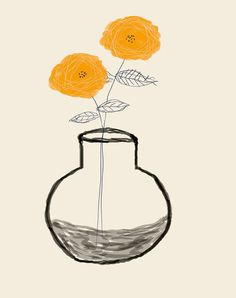 (love this!) AshleyG illustration print with flowers - Sending You Flowers - orange group. $20.00, via Etsy.