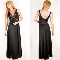 M Vtg Olga Black Grand Sweep Secret Hug Butterfly 92097 Sheer Nightgown Lingerie #SomeLikeItUsed