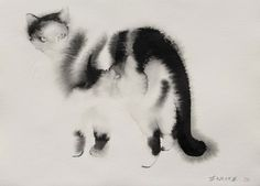 """watercolor cats by endre penovac. Just love how simple the brush strokes are. He captures the """"feel"""" of a cat so well! Amazing art!"""