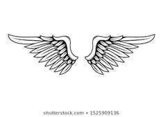 Similar Images, Stock Photos & Vectors of abstract stylized vector wings set - 11484598 Free Vector Images, Vector Free, Tarot, Back Of Neck Tattoo, Wing Tattoo Designs, Elegant Tattoos, Wings Logo, Line Tattoos, Icon Design