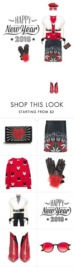 """""""Happy New Year!"""" by yee-yan ❤ liked on Polyvore featuring Les Petits Joueurs, Tory Burch, Chinti and Parker, Prada, Monse, Cricut, Valentino and Ray-Ban"""
