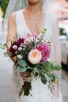 Seeded Eucalyptus, Dahlia, Astilbe and Thistle Bridal Bouquet