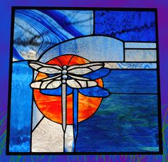 SALE Stained Glass Window Dragonfly Shadows  by stainedglassfusion, $249.99
