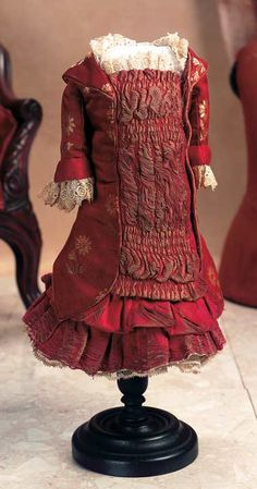 Classic antique French Bru Burgundy Silk Jacket Dress with Ruched and Gathered Plastron, circa 1885.