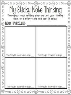 Sticky Note Thinking Getting students to think about their thinking is hard! I created this simple sheet to use with sticky notes. It would be a great addition to an interactive notebook or to just keep in the classroom and allow students to use when they Reading Resources, Reading Strategies, Reading Activities, Reading Skills, Teaching Reading, Guided Reading, Learning, Close Reading, Student Teaching