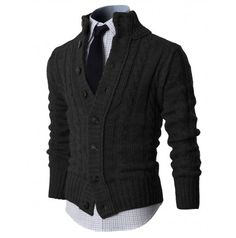MENS Knit Sweaters CARDIGAN SWEATER WITH BUTTON DETAILS (KMOCAL020:DOUBLJU)