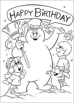 Frosty the Snowman Fargelegging for barn. Tegninger for utskrift og fargelegging nº 3
