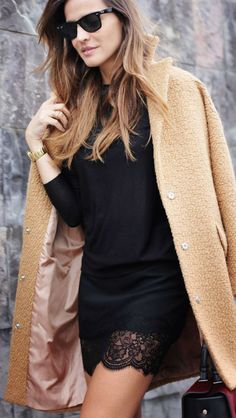This Is Glamorous -- Fashion :: Winter Style Inspiration : Camel with Knits and Leather & Lace -- a look at current fashion trends by way of street style inspiration