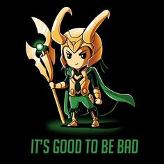 It's Good To Be Bad - This official Marvel t-shirt featuring Loki is only available at TeeTurtle! Loki Thor, Loki Laufeyson, Tom Hiddleston Loki, Marvel Dc Comics, Marvel Avengers, Marvel Art, Loki Art, Marvel Cinematic Universe, Comic Character