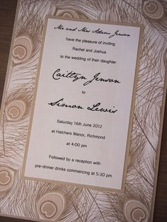 This wedding invitation called Champagne Peacock has been made using pearlescent champagne card (250gsm), pearlescent champagne-coloured deco paper featuring peacock feathers and white pearlescent text paper. It comes with a matching white pearlescent envelope. (https://www.etsy.com/listing/125171844/champagne-peacock-wedding-invitation)