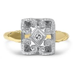 14K Yellow Gold, 14k White Gold The Nanci Ring from Brilliant Earth