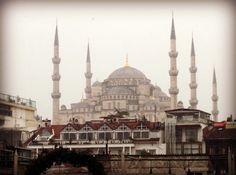 Blue Mosque in snow from roof terrace of Armada Hotel