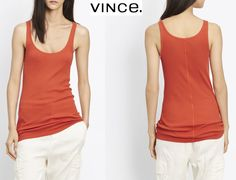NWT $65 VINCE SCOOP NECK ORANGE SUNRISE TANK. MADE IN PERU. SZs XS, S #Vince #TankCami #Casual