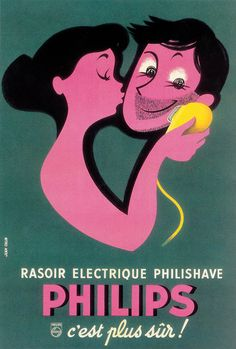 It's French Friday, everyone! Joyeux vendredi de la part de Philips. Viaboyopress:  Philips advertisement, 1956 - Artwork by Jean Col...