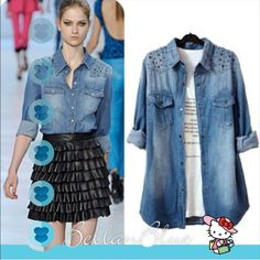 🎉HPx6🎉 - 🐴The Hello Denim blouse🐴 Denim is making a fierce come back! This super, super darling jean button closure top with bronze color studs on top portion. You can wear it as a long sleeve or roll up your sleeves for a nice spring outting. Very versatile.  ❌NO TRADE, PRICE FIRM❌ Tops Blouses
