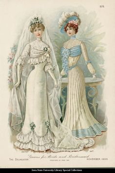 Dresses for a bride and bridesmaid, 1900 United States, the Delineator