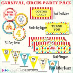 Hey, I found this really awesome Etsy listing at http://www.etsy.com/listing/108728726/carnival-circus-birthday-party-pack