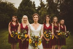 Red Bridesmaids Dresses Sunflower Bouquets - Sunflower Wedding Bouquet Rustic We. Red Bridesmaids Dresses Sunflower Bouquets – Sunflower Wedding Bouquet Rustic Wedding With Wes An Red Bridesmaids, Burgundy Bridesmaid Dresses, Wedding Bridesmaid Dresses, Maroon Wedding, Burgundy Wedding, Red Bouquet Wedding, Wedding Sunflowers, Rustic Sunflower Weddings, Sunflower Wedding Flowers