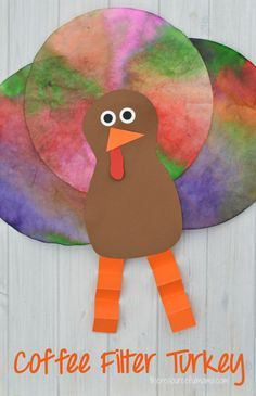 This Coffee Filter Turkey Craft is a quick, easy, and inexpensive craft kids can make for Thanksgiving. It uses a fun technique to color the coffee filters. This Coffee Filter Turkey Cra Thanksgiving Arts And Crafts, Thanksgiving Crafts For Kids, Fall Crafts, Holiday Crafts, Thanksgiving Placemats, Thanksgiving Activities, Thanksgiving Turkey, Craft Activities For Kids, Preschool Crafts